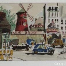Arte: JAMES CHRISTIAN. ACUARELA FIRMADA, MOULIN ROUGE. Lote 183783800