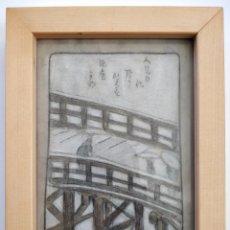 Arte: MARAVILLOSA ACUARELA ORIGINAL JAPONESA, PUENTE NEVADO, ESCUELA HIROSHIGE. Lote 183798818