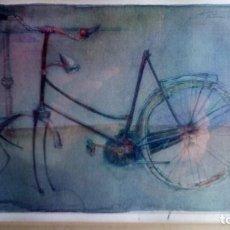 Arte: ACUARELA - MIXTA - BICICLETA ANTIGUA .. Lote 183879793