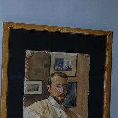 Arte: EXCELENTE ACUARELA - PINTOR - AUTORRETRATO - IMPRESIONISMO - CIRCA 1900. Lote 183897970