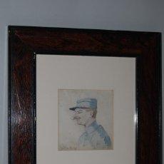 Arte: PRECIOSA ACUARELA - RETRATO - FERROVIARIO - MILITAR - FIRMADA - 1918. Lote 183899000