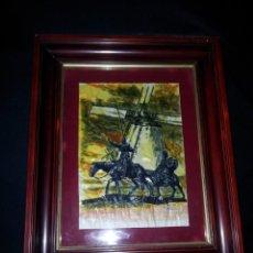 Arte: ACUARELA SOBRE PERGAMINO DE DON QUIJOTE DE LA MANCHA Y SANCHO PANZA - FIRMADO. Lote 183917042