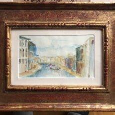 Arte: ACUARELA MARCO PAN DE ORO GRABADO. Lote 184101576
