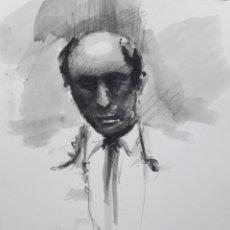 Arte: EL GALLO. APUNTE GRAFITO Y ACUARELA.. Lote 184314310