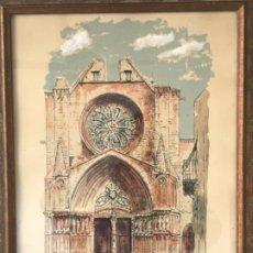 Arte: ELEGANTE ACUARELA Y TINTA DE LA FACHADA DE LA CATEDRAL DE TARRAGONA 1950'S. FIRMADA. . Lote 184343022