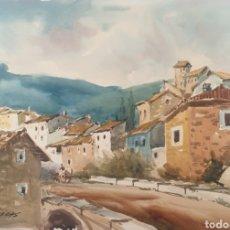 Arte: FELIPE BRUGUERAS PALLACH (1915- 2003) - PUEBLO CON PUENTE I CARRO.FIRMADO.. Lote 184306905