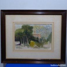Arte: ACUARELA DE RAFAEL RIERA CALDERON.BUENA ÉPOCA.ESCUELA DE OLOT.BIEN ENMARCADO.. Lote 184406105