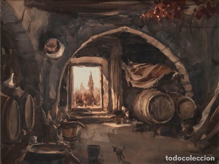 CEFERINO OLIVÉ - REUS 1907 - REUS 1995 - ACUARELA SOBRE PAPEL. TÍTULO: INTERIOR DE BODEGA DE VINO. (Arte - Acuarelas - Contemporáneas siglo XX)