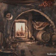 Arte: CEFERINO OLIVÉ - REUS 1907 - REUS 1995 - ACUARELA SOBRE PAPEL. TÍTULO: INTERIOR DE BODEGA DE VINO.. Lote 184616516