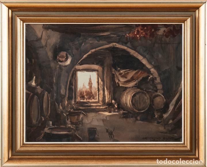 Arte: Ceferino Olivé - Reus 1907 - Reus 1995 - Acuarela sobre papel. Título: Interior de bodega de vino. - Foto 2 - 184616516