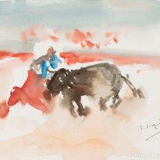 Arte: JAVIER SAGARZAZU - FUENTERRABIA 1946 - ACUARELA SOBRE PAPEL - TÍTULO: TORERO. Lote 184618487