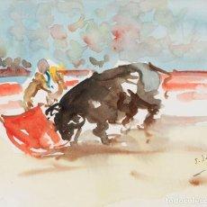 Arte: JAVIER SAGARZAZU - FUENTERRABIA 1946 - ACUARELA SOBRE PAPEL - TÍTULO: TORERO. Lote 184618598