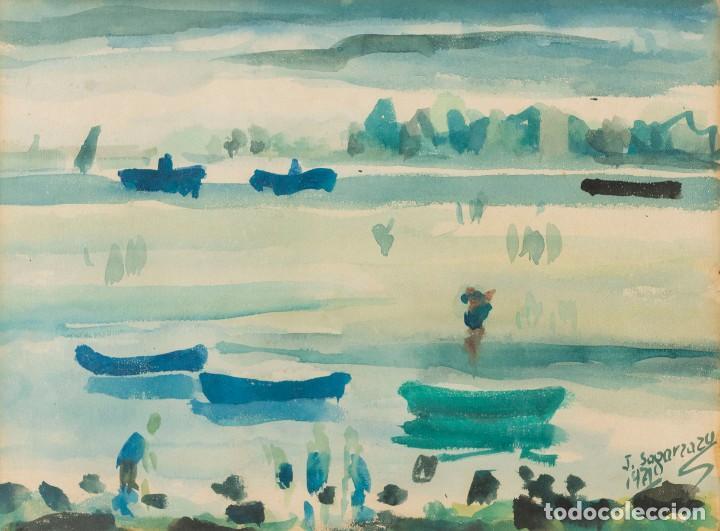 JAVIER SAGARZAZU - FUENTERRABIA 1946 - ACUARELA SOBRE PAPEL - TÍTULO: BARCAS EN FUENTERRABIA (Arte - Acuarelas - Contemporáneas siglo XX)
