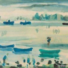 Arte: JAVIER SAGARZAZU - FUENTERRABIA 1946 - ACUARELA SOBRE PAPEL - TÍTULO: BARCAS EN FUENTERRABIA. Lote 184621018
