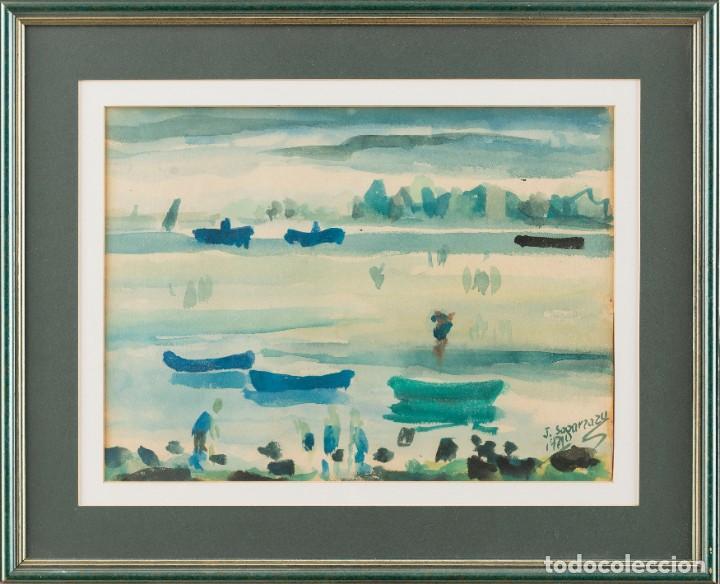 Arte: Javier Sagarzazu - Fuenterrabia 1946 - Acuarela sobre papel - Título: Barcas en Fuenterrabia - Foto 2 - 184621018