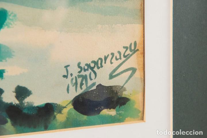 Arte: Javier Sagarzazu - Fuenterrabia 1946 - Acuarela sobre papel - Título: Barcas en Fuenterrabia - Foto 3 - 184621018