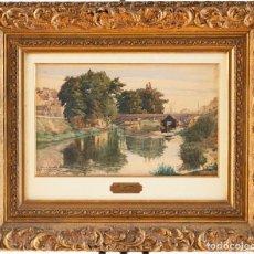 Arte: L.CHAQUETY - ESCUELA FRANCESA - C.1917 - TÍTULO: BORDS DE LA SARTHE AU MANS.. Lote 184626392