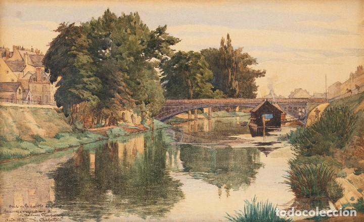 Arte: L.Chaquety - Escuela Francesa - C.1917 - Título: Bords de la Sarthe au Mans. - Foto 2 - 184626392