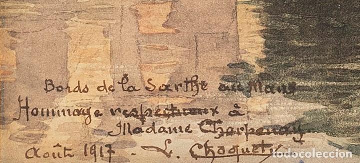 Arte: L.Chaquety - Escuela Francesa - C.1917 - Título: Bords de la Sarthe au Mans. - Foto 3 - 184626392