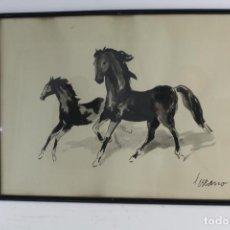 Arte: B-887. ACUARELA SOBRE PAPEL, CABALLOS. FIRMADA SERRANO. S.XX. Lote 184627996