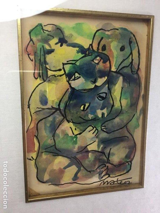 Arte: Francisco Mateos. Lote de tres dibujos en tinta y acuarelas enmarcados de manera profesional 78 x 33 - Foto 3 - 184866302