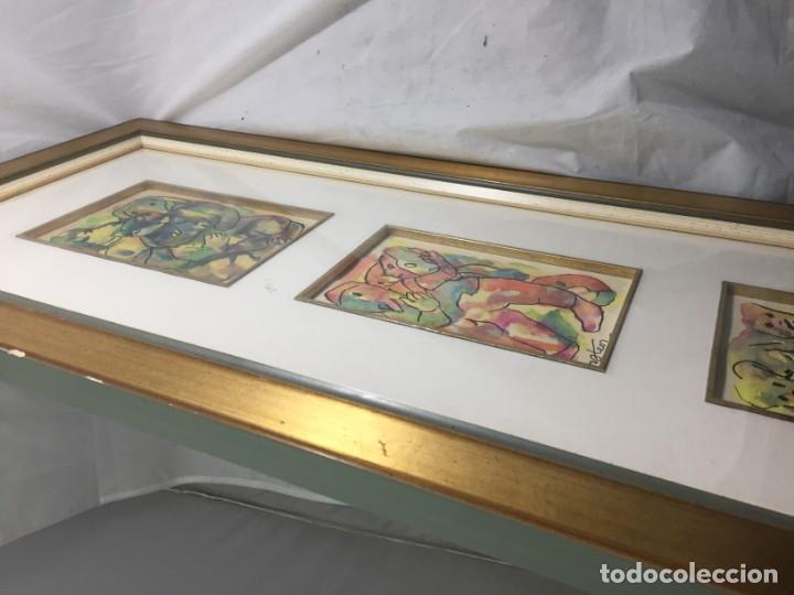 Arte: Francisco Mateos. Lote de tres dibujos en tinta y acuarelas enmarcados de manera profesional 78 x 33 - Foto 9 - 184866302