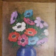 Arte: JARRÓN CON FLORES. ACUARELA SOBRE CARTÓN FIRMADA POR ISABEL RIAÑO. 51 X 37 CM.. Lote 184889028