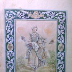 Arte: ACUARELA MUJER VENDEDORA FLORES, CON ENMARCADO TAMBIÉN PINTADO, FIRMADO PAQUITA VILA,1948. Lote 184913771