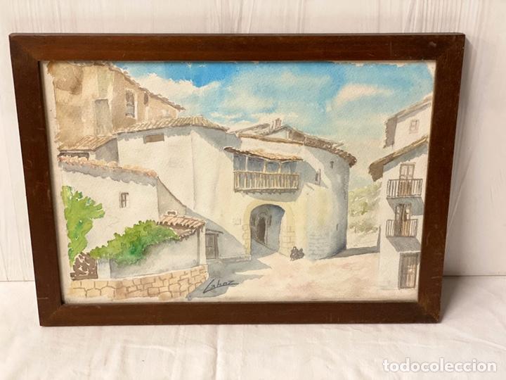 Arte: Espectacular acuarela firmada por MANUEL LAHOZ VALLE con la vistas de un pueblo y enmarcada. 54x40cm - Foto 2 - 184351588