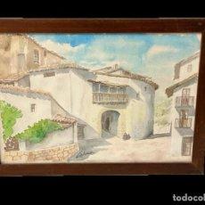 Arte: ESPECTACULAR ACUARELA FIRMADA POR MANUEL LAHOZ VALLE CON LA VISTAS DE UN PUEBLO Y ENMARCADA. 54X40CM. Lote 184351588
