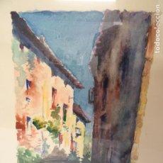 Arte: ACUARELA - CALLE DE PUEBLO - ARTISTA SALAPLANA - OLOT. Lote 185967927