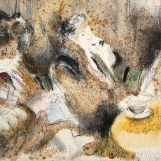 Arte: EMILI GRAU SALA - ACUARELA - INTERIOR CON PERSONAJES.. Lote 187090276