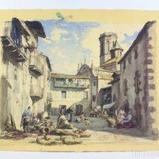 Arte: JOAN COLOM, ACUARELA SOBRE PAPEL, 1948, PLAZA DE PUEBLO POR IDENTIFICAR. 66X51CM. Lote 187168246