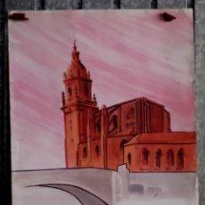 Arte: ACUARELA IGLESIA PUENTE SAN ANTÓN – BILBAO // FIRMA JUR. Lote 187215830