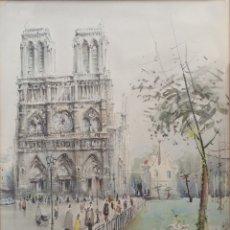 Arte: JAUME ROCA I DELPECH (GERONA, 1911-1968) - NOTRE DAM PARIS.ACUARELA I TINTAFIRMADA.REPRODUCIDA.1960.. Lote 187216112
