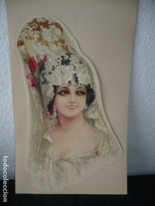MUJER ESPAÑOLA CON MANTILLA FIRMADO R. MIR 40.5 CM X 24 CM ACUARELA AÑO 1918 (Arte - Acuarelas - Contemporáneas siglo XX)