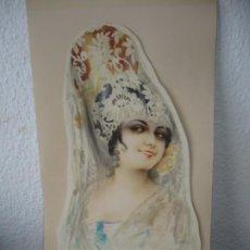 Arte: MUJER ESPAÑOLA CON MANTILLA FIRMADO R. MIR 40.5 CM X 23 CM ACUARELA AÑO 1918. Lote 187429615