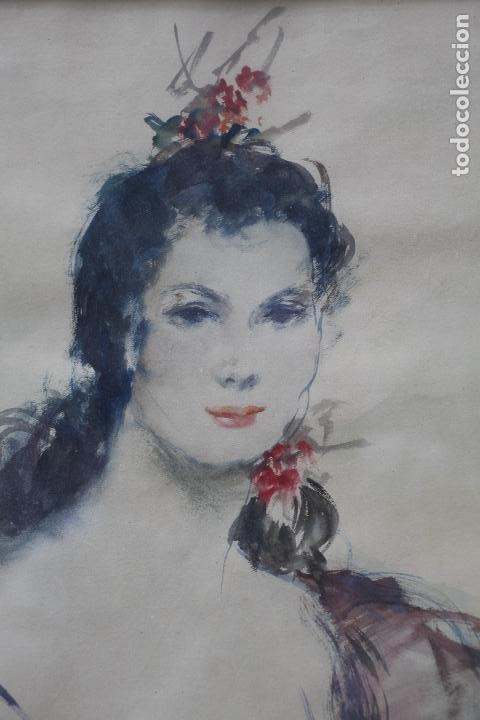 Arte: Retrato de mujer sentada , acuarela, firma ilegible, con marco. 54,5x38,5cm - Foto 2 - 187585900