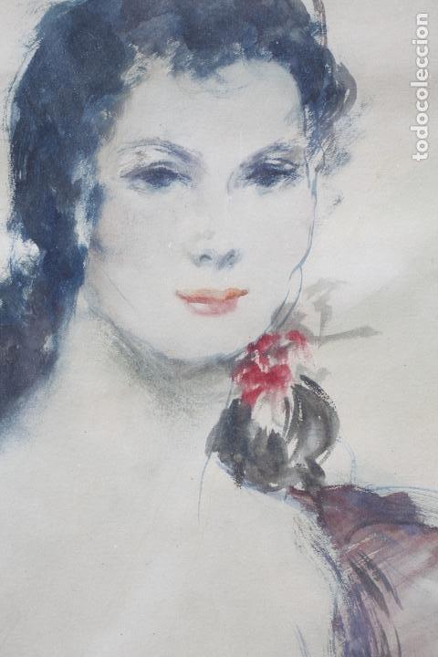Arte: Retrato de mujer sentada , acuarela, firma ilegible, con marco. 54,5x38,5cm - Foto 3 - 187585900