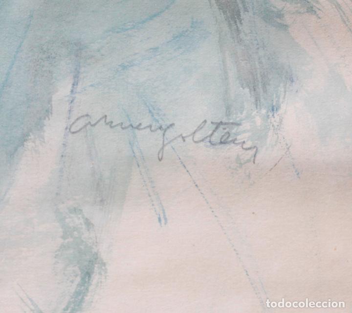 Arte: Retrato de mujer sentada , acuarela, firma ilegible, con marco. 54,5x38,5cm - Foto 4 - 187585900