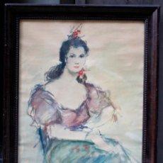 Arte: RETRATO DE MUJER SENTADA , ACUARELA, FIRMA ILEGIBLE, CON MARCO. 54,5X38,5CM. Lote 187585900