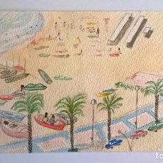 Arte: ANTIGUA PINTURA EN ACUARELA SOBRE PAPEL-LÁMINA SIN ENMARCAR-DIBUJO DE UNA PLAYA-SIN FIRMAR-AÑO 1987. Lote 187656752
