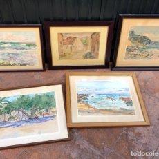 Arte: LOTE DE 5 ACUARELAS A IDENTIFICAR, ALGUNAS CON FIRMA. Lote 188418790