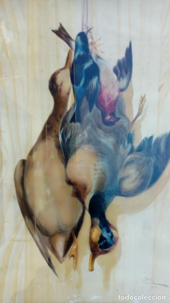 ELÍAS GARCIA MARTÍNEZ. BODEGÓN DE CAZA. ACUARELA SOBRE PAPEL. FIRMADO Y FECHADO EN 1885. (Arte - Acuarelas - Modernas siglo XIX)