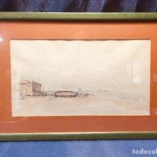 Arte: ACUARELA SOBRE PAPEL PAISAJE COSTERO BORDE DEL MAR BARCA CASA EEUU RAY FABRA PPIO S XX 60 X 40 CM. Lote 189244706