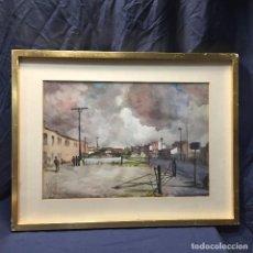 Arte: ACUARELA PUEBLO PERSONAS CAMINANDO CIELO NUBLADO FIRMA ECHANOVE 79. Lote 189320400
