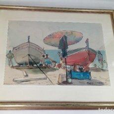 Arte: SEBASTIAN REY PADILLA (LINARES, 1911 - MADRID, 1973). PLAYA DE VERANO. ACUARELA Y TINTA SOBRE PAPEL.. Lote 189406056