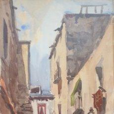 Arte: ROMAN FOIXA - VISTA CALLE CON PASEANTES.ACUARELA/TINTA.FIRMADA.. Lote 189443553