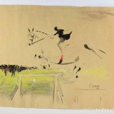 Arte: JOSEP MIQUEL SERRANO, ACUARELA, 1944, HOMBRE CON CABALLO, FIRMADA. 63,5X48CM. Lote 189621506