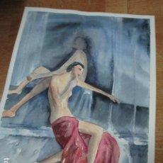 Arte: ACUARELA ORIGINAL MUJER RETRATO FEMENINO. Lote 189632765